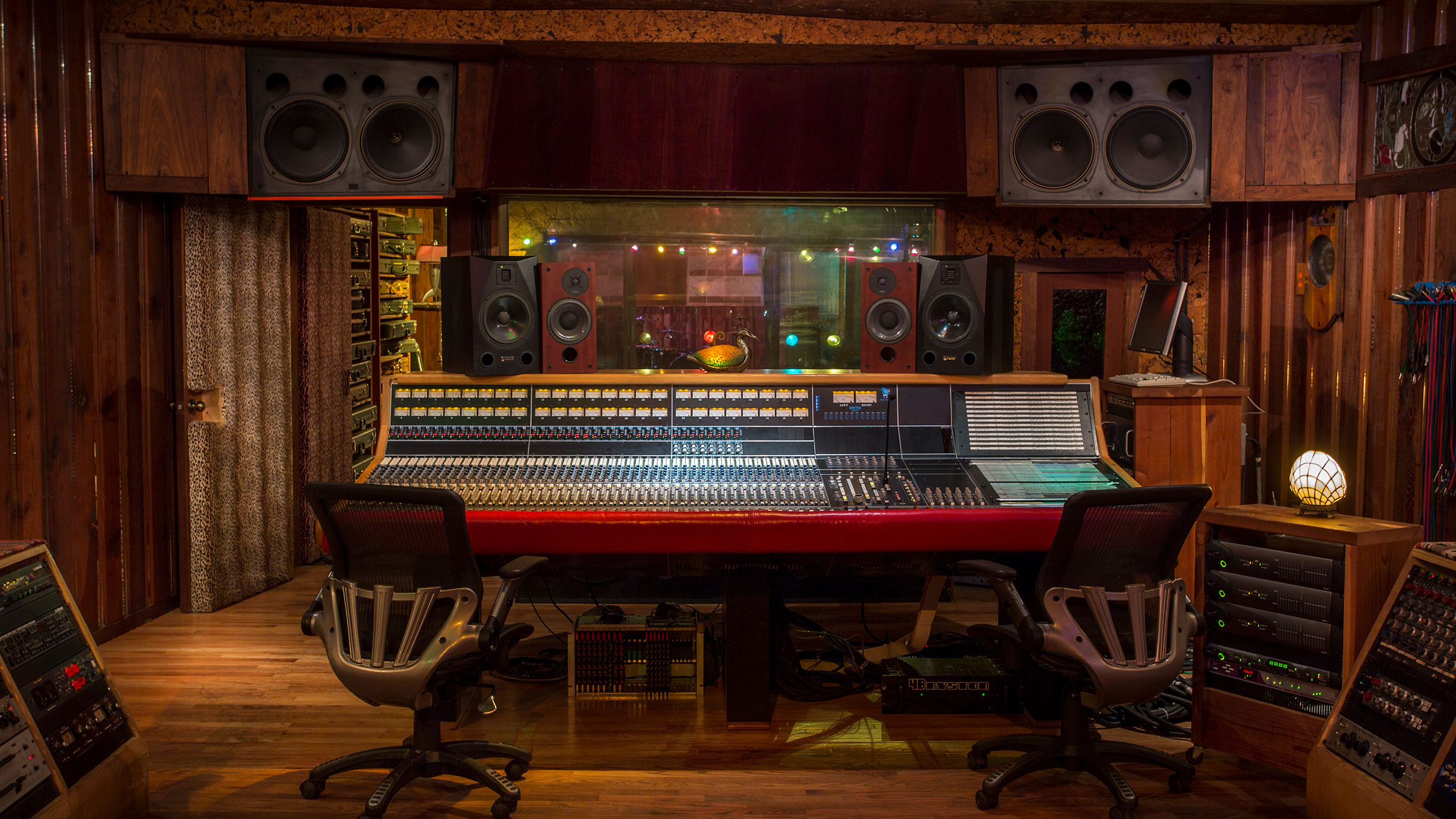 Studio A Control Room looking into the API Legacy Plus console from the entrance door