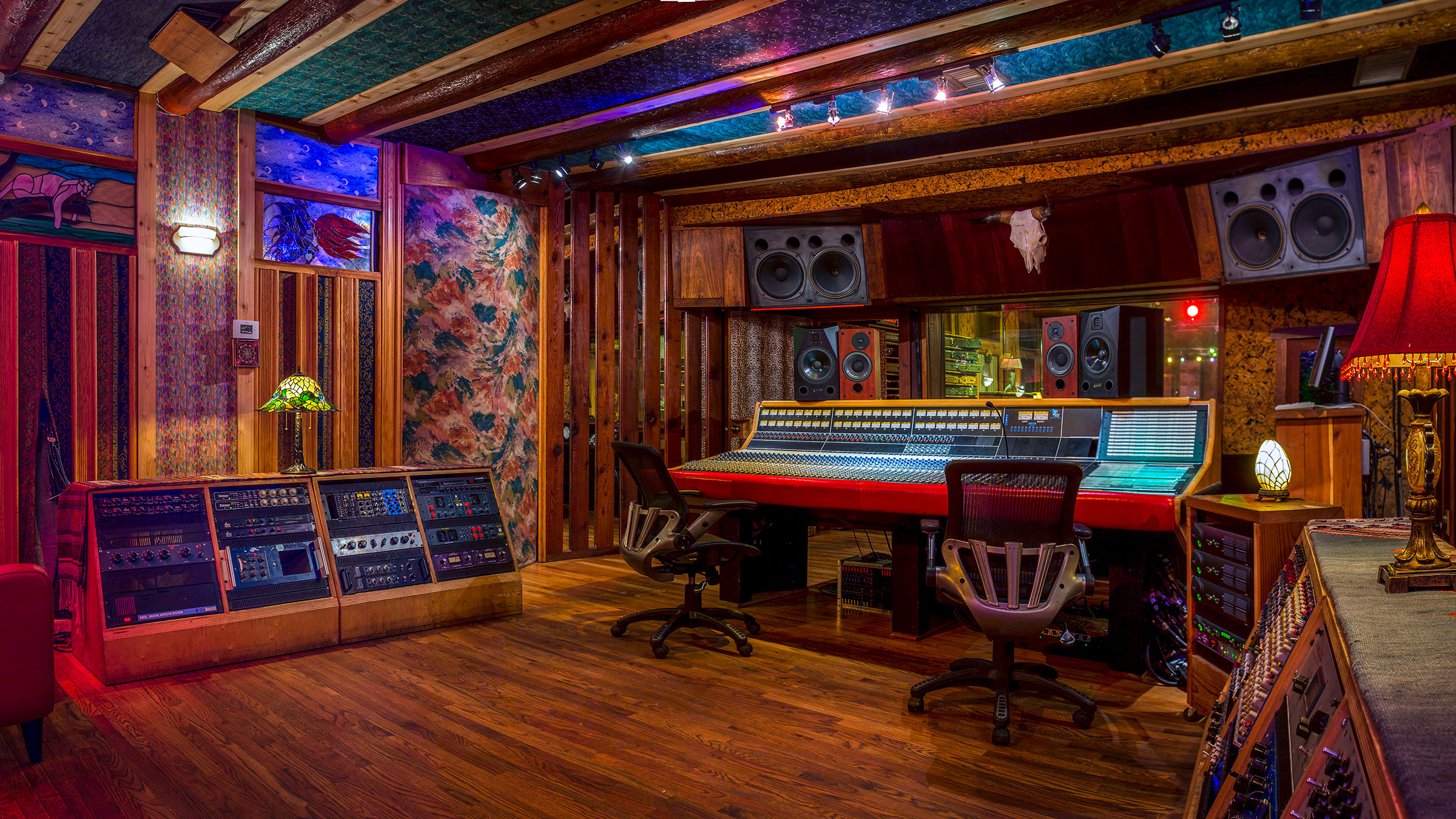 Studio A Control Room looking into the API Legacy Plus console from the right back
